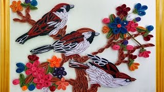 Paper Quilling How to make colorfull flowers beautiful Sparrow birds sitting on tree Wall Decoration