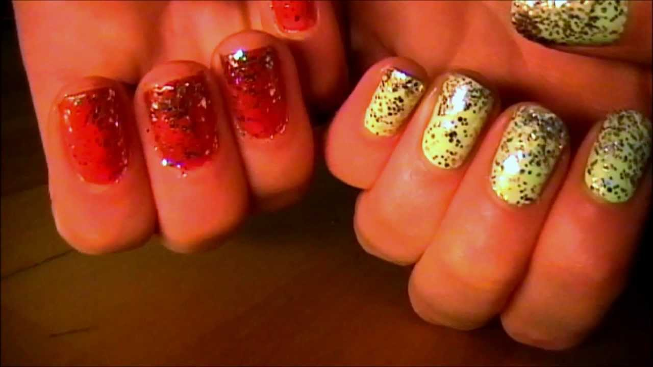 Easy Falling Glitter Nails - YouTube