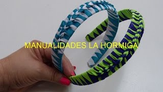Repeat youtube video Como hacer Diadema Tejida Nudos Ysabel Pap, # 516, Vinchas doble color trenzadas variedad tejido