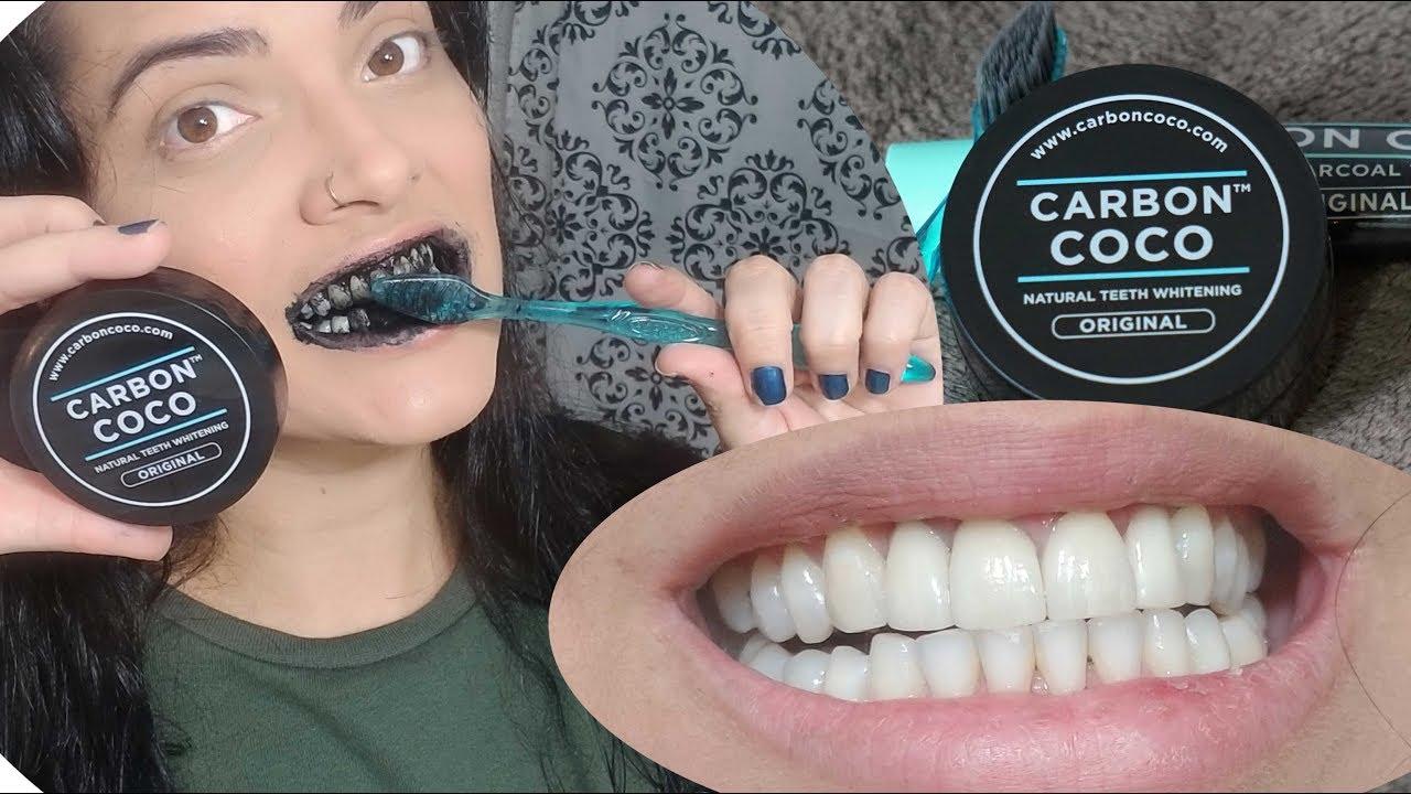 Clareando Os Dentes Com Carvao Carbon Coco Teeth Whitening Youtube