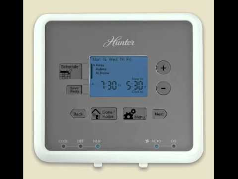 how to program a hunter five minute thermostat models 44272 and rh youtube com hunter thermostat model 44100 manual Hunter 44110 Thermostat Manual