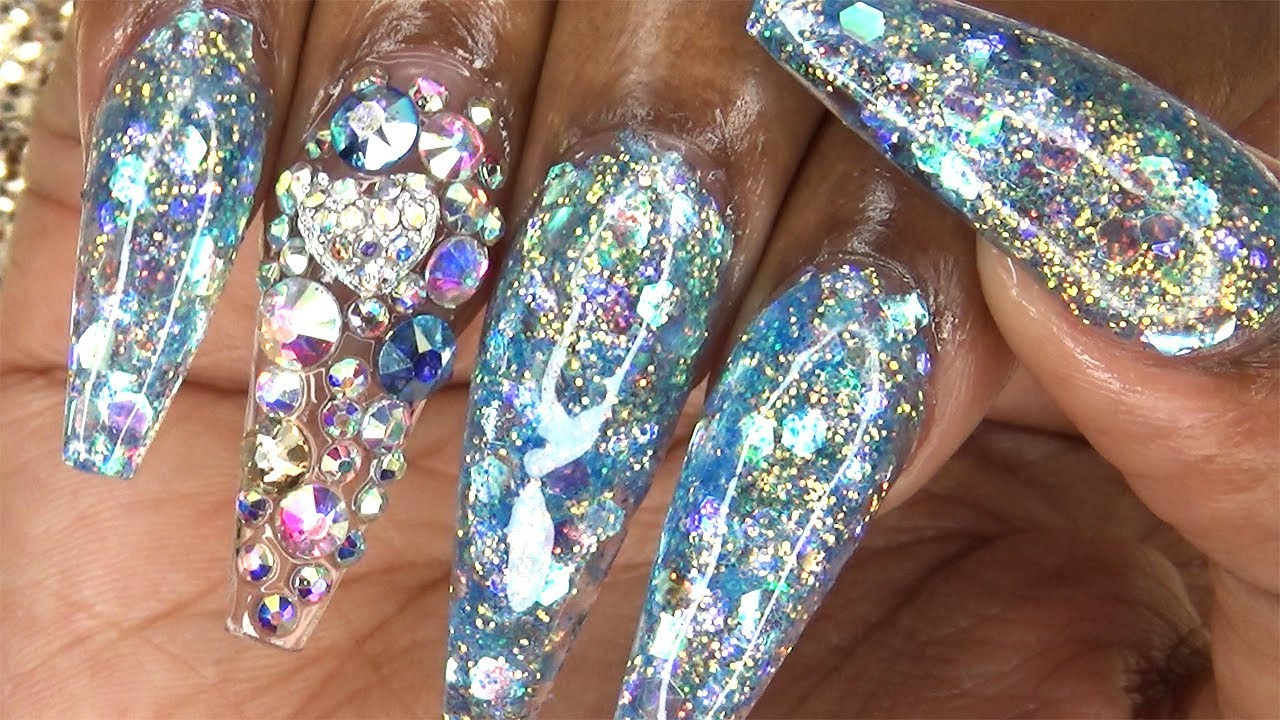 Acrylic Nails Icy Blue Glitter Longhairprettynails