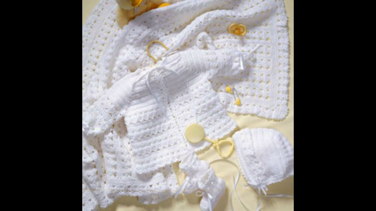 Free Knitting Patterns For Babies Layettes : Crochet Along Baby Layette Video 7 - YouTube