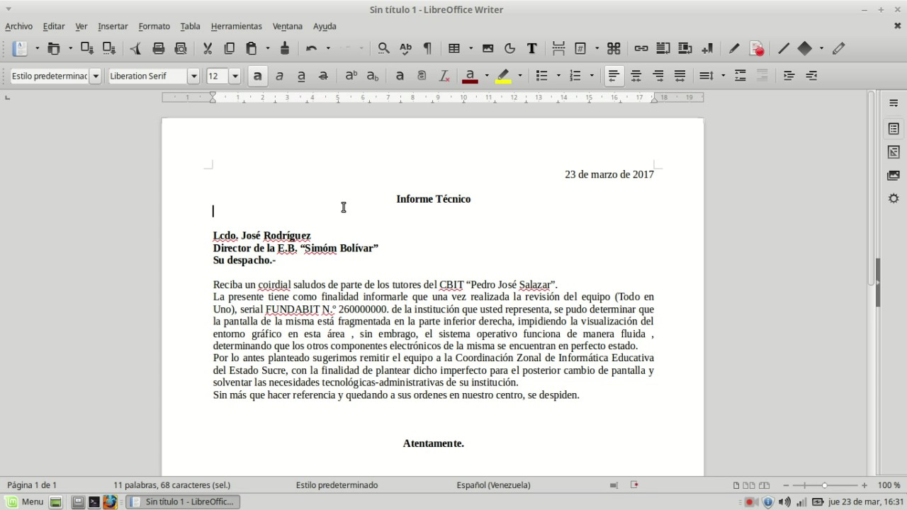 Contemporáneo Plantilla De Word De Informe Técnico Fotos - Ejemplo ...