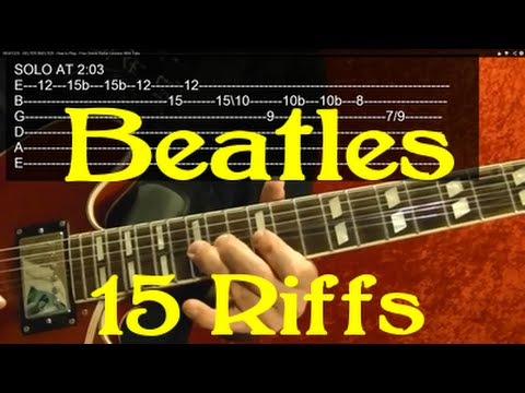 THE BEATLES Guitar Lesson - 15 Great Riffs!