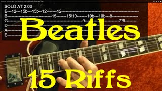 THE BEATLES - 15 Riffs - Guitar Lesson