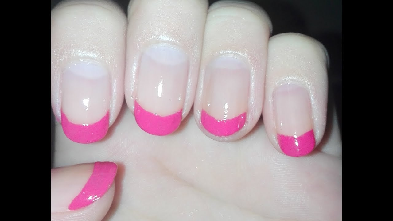 Easy and Quick Hot Pink French Manicure:💅💗DIY Nail Art Tutorial ...