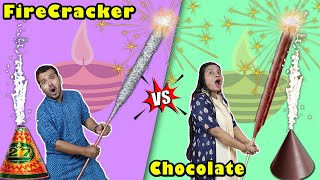 Firecracker Vs Chocolate Fire Cracker Challenge | Diwali Firecracker Challenge | Hungry Birds