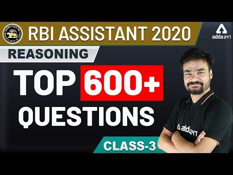 RBI Assistant 2020 | Reasoning 600 Questions for RBI Assistant Preparation (Class 3)