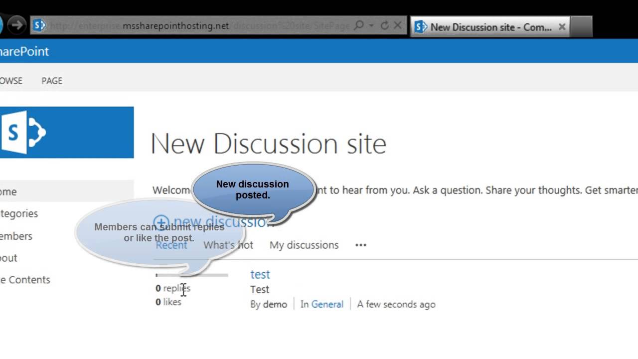 Community Sites for Discussions in SharePoint 2013