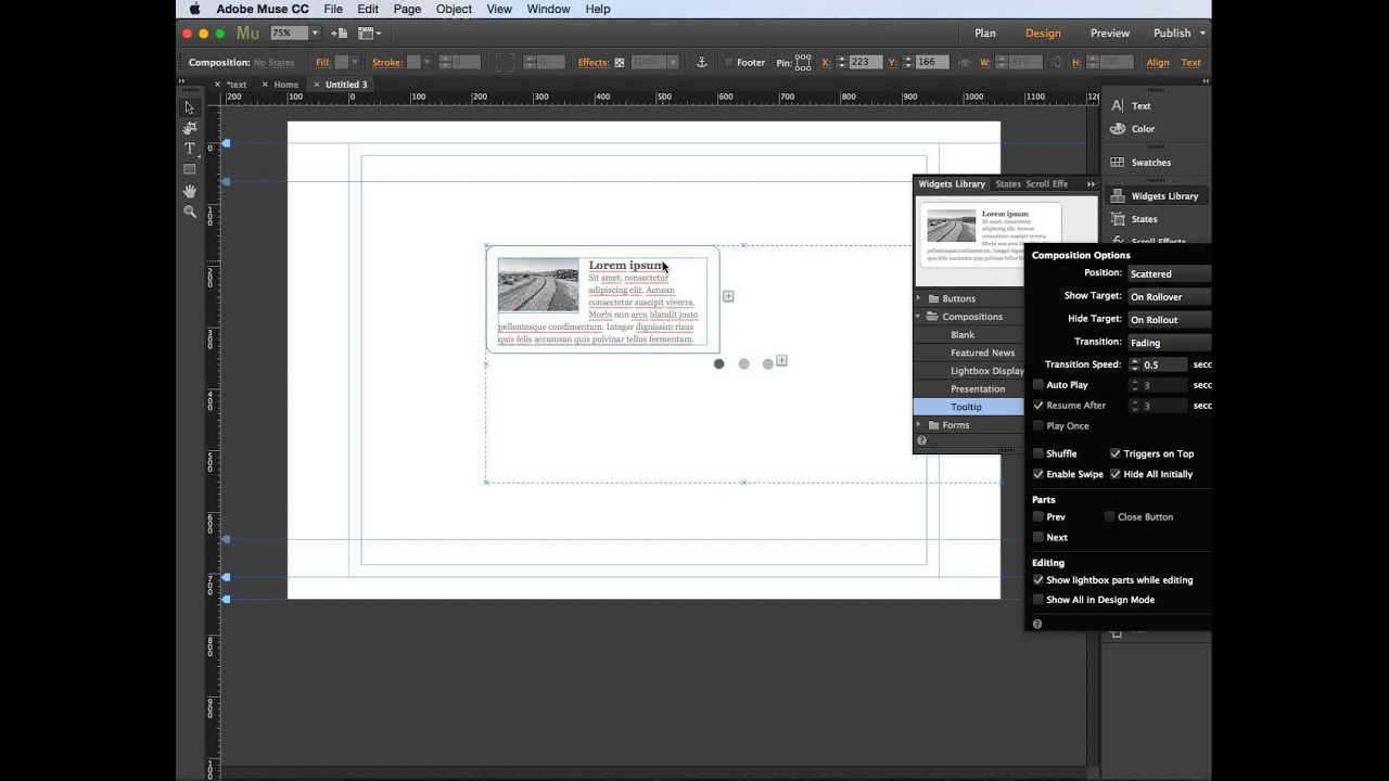 Adobe Muse - widgets compositions
