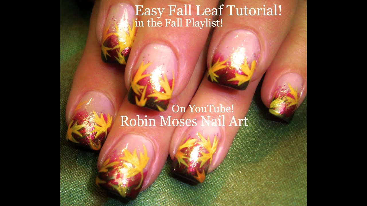 Easy Autumn Leaves!! Pretty Fall Leaf Nails Art Design