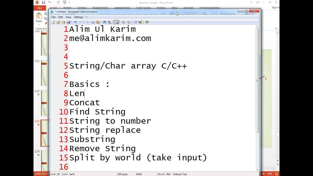 String Manipulation Basics 101 C C Bangla Youtube