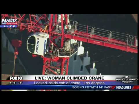 DRAMATIC RESCUE: Woman Climbs Crane In LA - Turns Suicidal - Amazing Rescue (FNN)