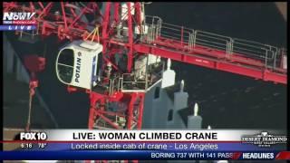 DRAMATIC RESCUE: Woman Climbs Crane In LA - Turns Suicidal - Amazing Rescue