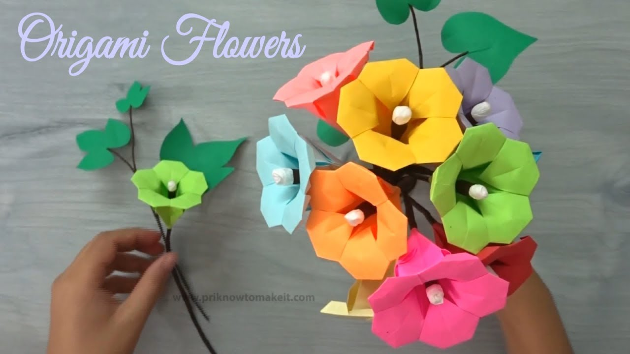 Origami Flower How To Make Paper Flower Bouquet Origami Flower Tutorial