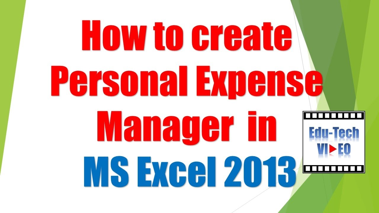 how to create personal expense manager in ms excel 2013 youtube