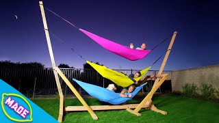 We Made a 3 Story Hammock Bunk Bed in J-Fred's Backyard!! *Overnight Challenge*