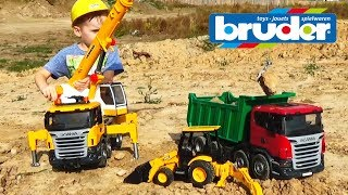 Машинки для детей #Брудер Автокран и Грузовик Игрушки #машинки Bruder Trucks Scania
