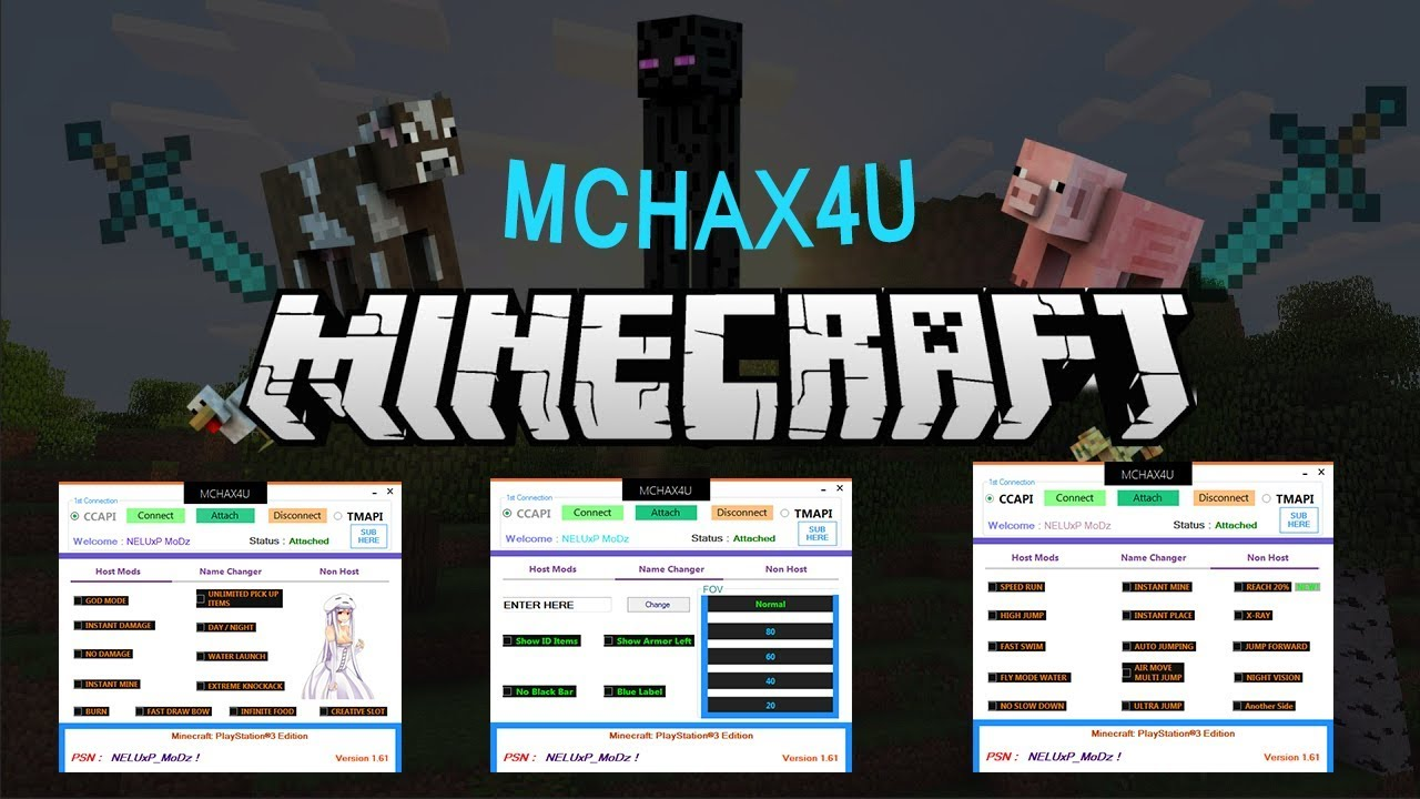 PS3 MINECRAFT TOOL/HACK/MODS 1.64 MCHAX4U UPDATED DOWNLOAD