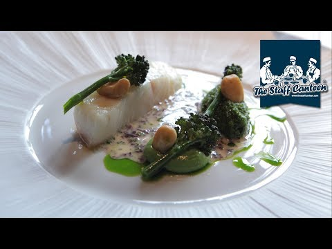 Poached Gigha Halibut with smoked almond pesto and seaweed butter sauce recipe by Matt Worswick