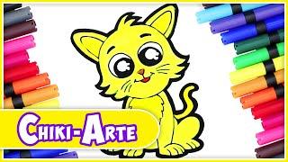 Como Dibujar un GATO - Dibujos divertidos para niños | Chiki-Arte Aprende a Dibujar