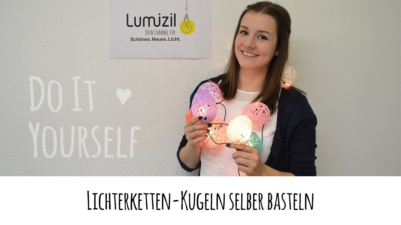 diy lichterkette mit kugeln selber basteln youtube. Black Bedroom Furniture Sets. Home Design Ideas