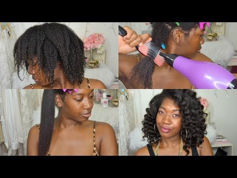 How To Safely Blow Dry Thick Natural Hair | Tension Method | PREVENT BREAKAGE |   4b HAIR BLOW OUT