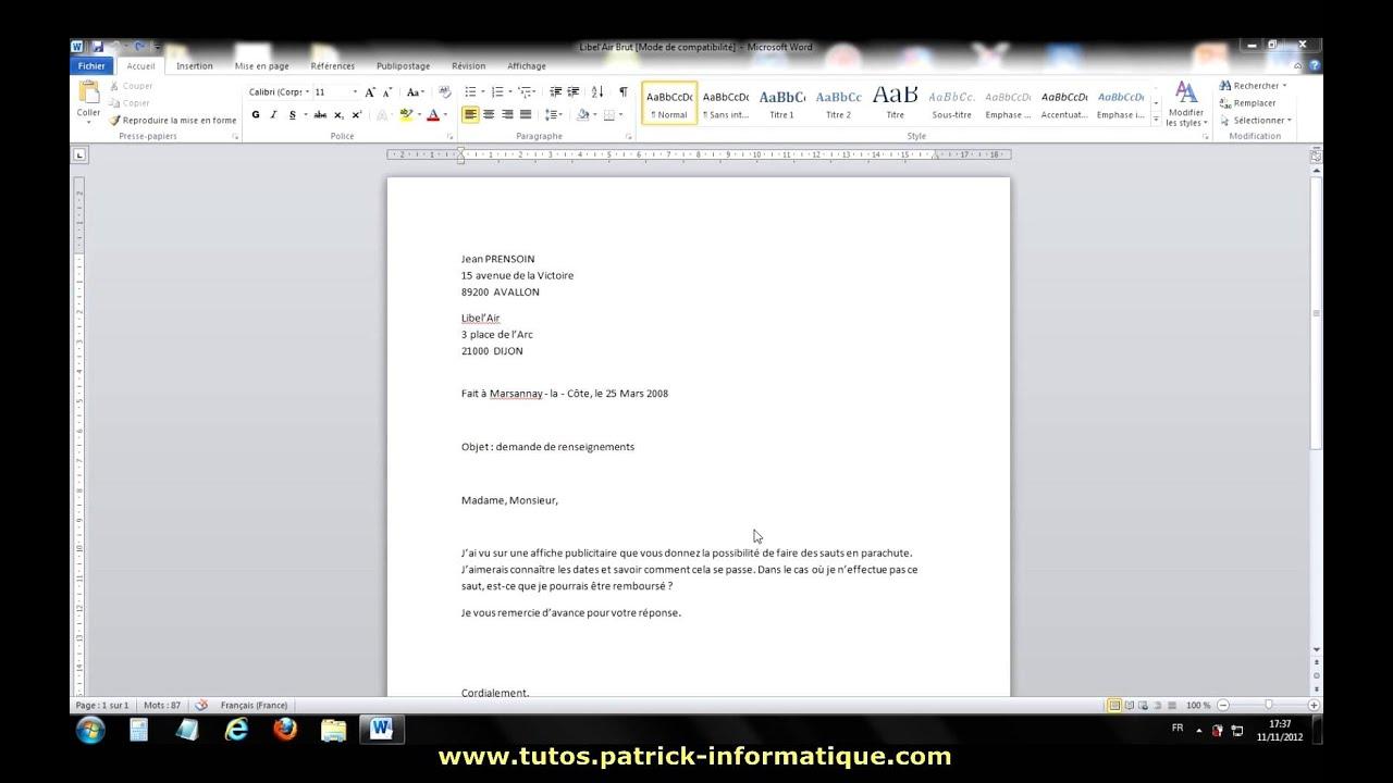 tuto - word 2010 - mettre en forme une lettre - extrait