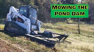 Bush Hogging Pond Dam Bobcat T650 CTL. Can you smell the fresh cut?