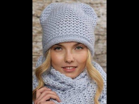 вязание шапок спицами модели 2019 Knitting Caps Knitting Youtube