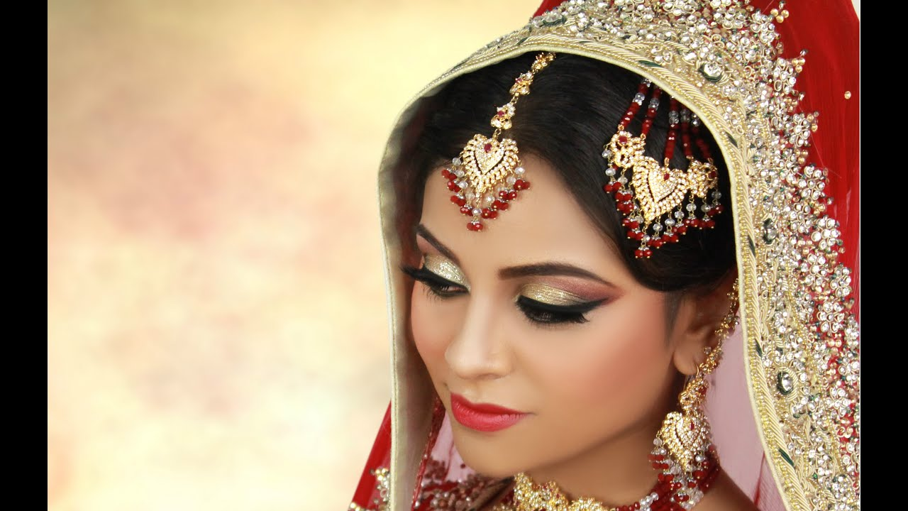 traditional asian bridal makeup with gold glitter youtube
