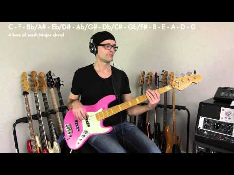 simple bass line practice in all 12 keys, intermediate level, how to play bass