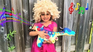 Kids Pretend Play as Musician w/ Guitar and Toy for Kids Got Talent Show
