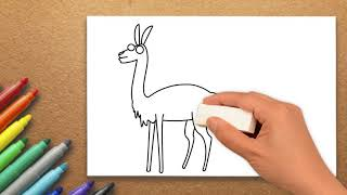 Vicuna Drawing | How to Draw a Vicuna | Step by Step | Massive Kidszone