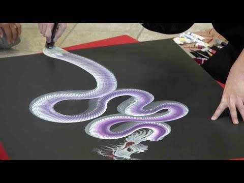 Artist Paints Incredible Dragons In One Stroke