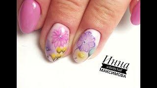 🌸 ЦВЕТОЧНЫЙ дизайн на ногтях 🌸 ПРОСТОЙ и БЫСТРЫЙ дизайн ногтей гель лаком 🌸 ЦВЕТЫ На ногтях 🌸