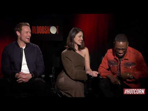 BLOODSHOT | Sam Heughan, Eiza Gonzales & Lamore Morris Interview | HOT CORN