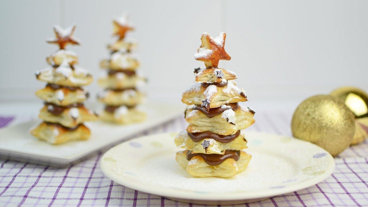 rboles de navidad de hojaldre y nutella