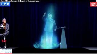 Jean-Luc Mélenchon se dédouble en hologramme à Paris(Jean-Luc Mélenchon se dédouble, depuis son meeting à Lyon, en hologramme à Paris. Jean-Luc Mélenchon attaque Macron mais évite soigneusement ..., 2017-02-05T15:52:02.000Z)
