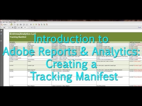 [Tutorial] Adobe Reports & Analytics: Creating a Tracking Manifest