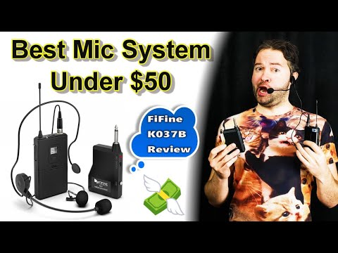 Best Wireless Microphone System Review (Cheap Budget) FiFine K037B Headset Lavalier Mic System
