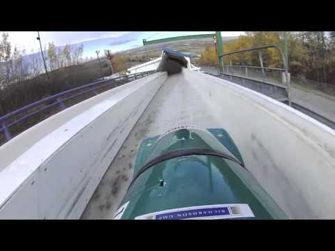 Bobsled Pilot POV Calgary Bobsleigh Track Contour HD