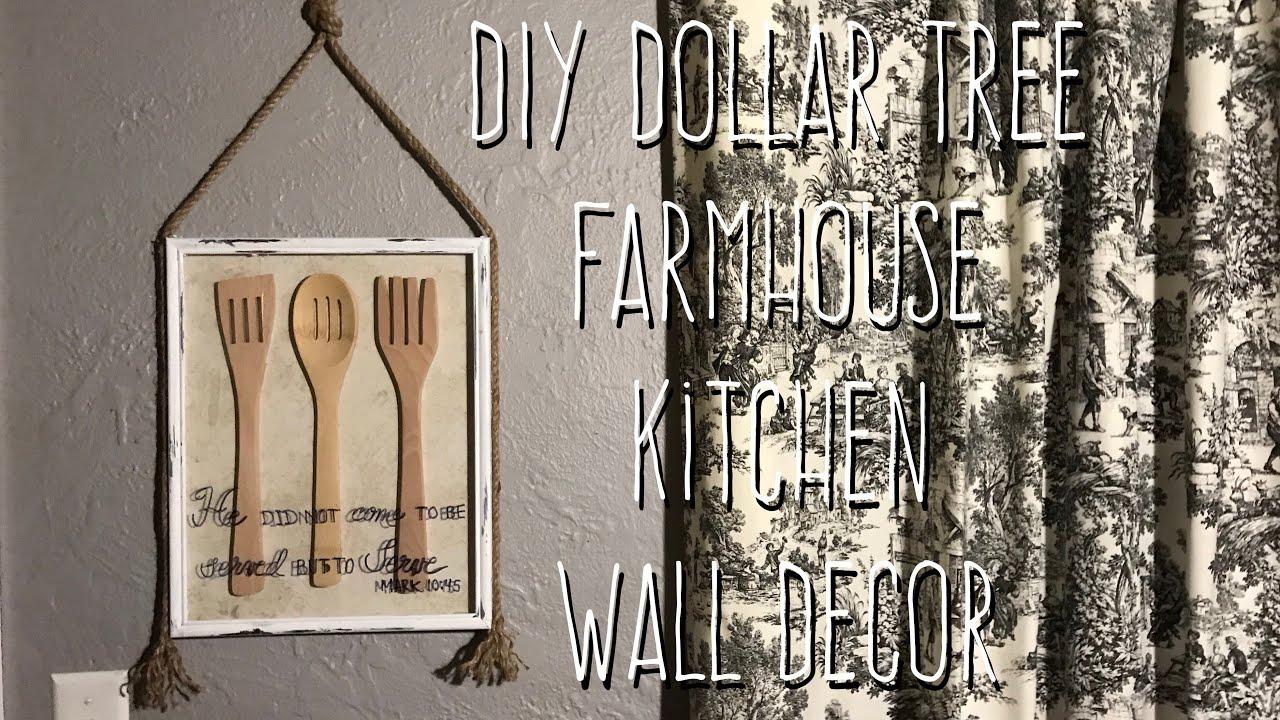 DIY Dollar Tree Farmhouse Kitchen Wall Decor - YouTube