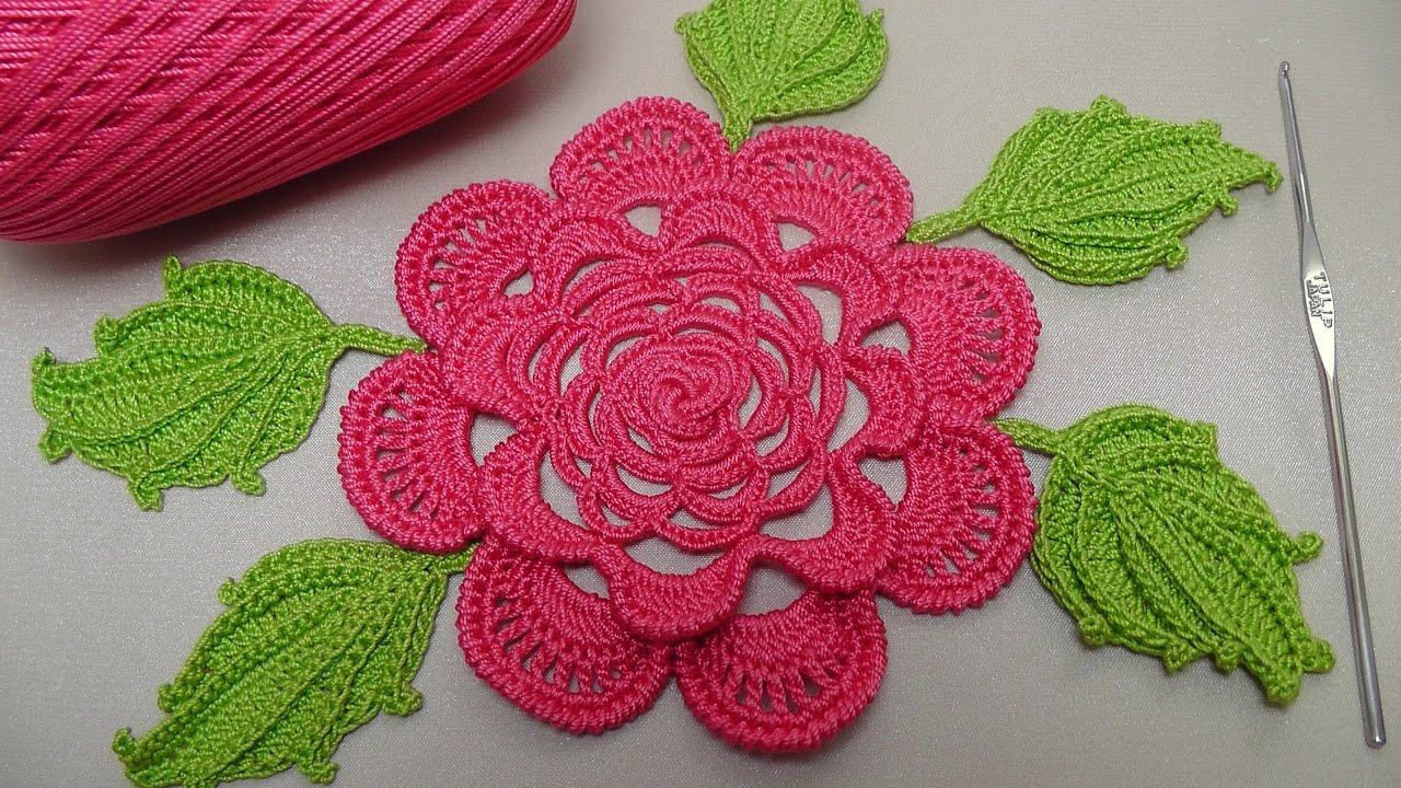 вязание розы крючком плоская роза для ирландского кружева Rose