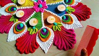 Navratri special Rangoli/peacock feather rangoli using कंघी