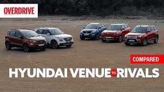 Hyundai Venue vs XUV300 vs Nexon vs Vitara Brezza vs EcoSport | Comparison Test | OVERDRIVE