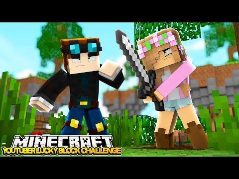 Minecraft YOUTUBER LUCKY BLOCK CHALLENGE w DANTDM & LITTLE KELLY!! (custom mods)