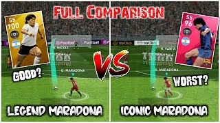 Iconic Moment Maradona VS Legend Maradona | Full Comparison | Who is best | Pes 20 Mobile |