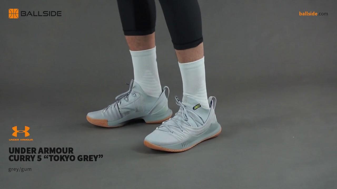 e3a0671e8dca Under Armour Curry 5 Tokyo Grey on feet - YouTube